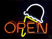 Neon Open Sign with Ice Cream Cone