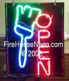 Neon Open Sign with Paint Brush