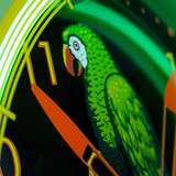 Polly Gasoline Neon Clock Parrot