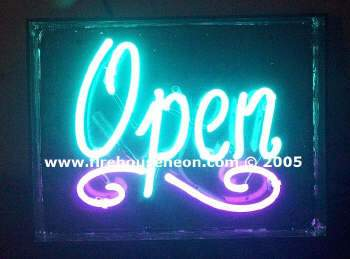 Small neon open sign