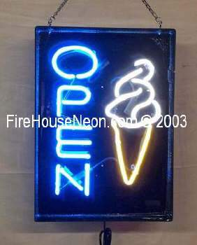 Neon Open Sign with Soft Swirl Ice Cream Cone
