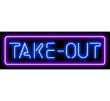 Take4 Out Neon Sign Blue Purple