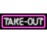 Take Out Neon Sign White Pink