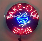 Chinese Food Eat-in Take-out Round Neon Sign