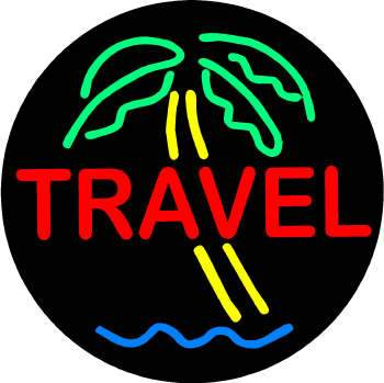 Round Travel Neon Sign with Palm Tree