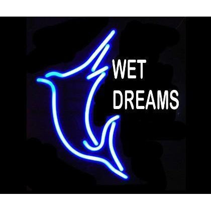 Wet dreams neon light sign with jumping swordfish