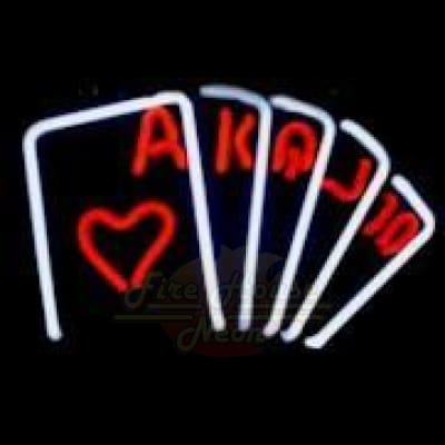 Casino Card Hand Base Neon Light Sign Sculpture - Neon Sculptures