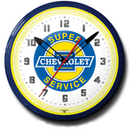 Super Chevrolet Service Neon Clock