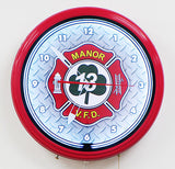 Custom Neon Clock Fire Department