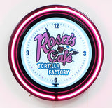 Custom Neon Clock 24 Inch Rosa's Cafe