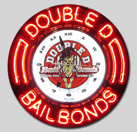 "Custom Neon Clock 36"" Bail Bonds"
