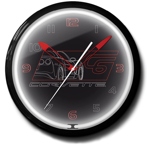Corvette C6 Chevrolet Black Neon Clock