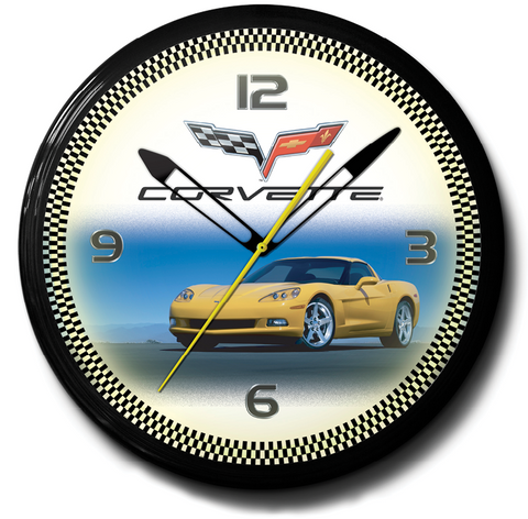 Corvette C6 Chevrolet Yellow Neon Clock