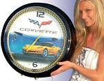Chevrolet Corvette 56-57 Black Neon Clock