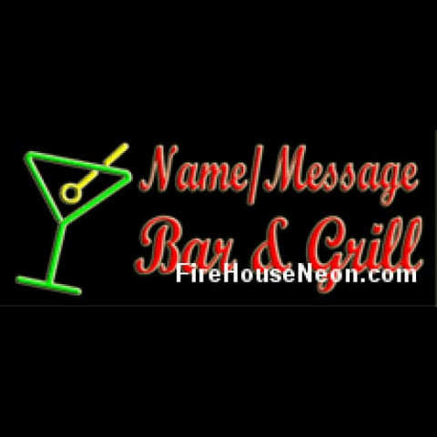 Custom Neon Bar and Grill Sign with Martini Glass - Custom Neon Sign