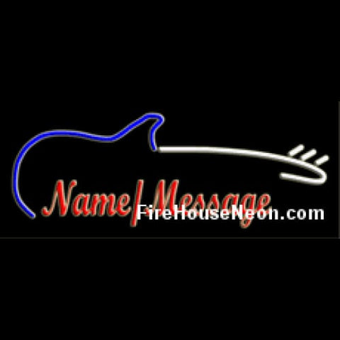 Custom Neon Sign with Electric Guitar - Custom Neon Sign