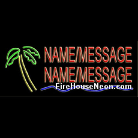 Custom Neon Sign with Island Palm - Custom Neon Sign