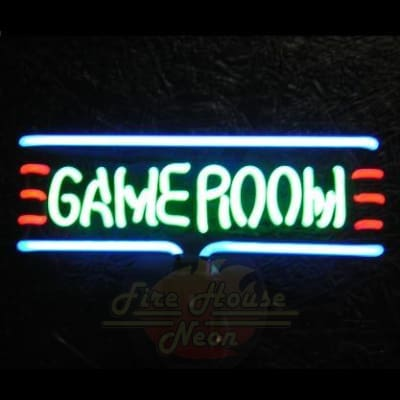 Gameroom With Border Neon Light Sign Sculpture - Neon Sculptures