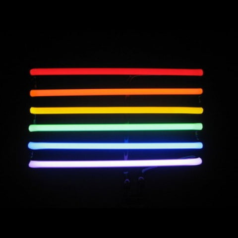Gay pride rainbow neon sculpture desk sign