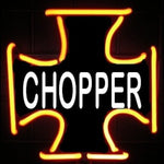 Chopper Iron Cross Neon Light Sign Sculpture