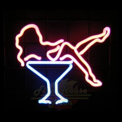Nude Retro Girl In Martini Glass Neon Light Sign Sculpture - Neon Sculptures