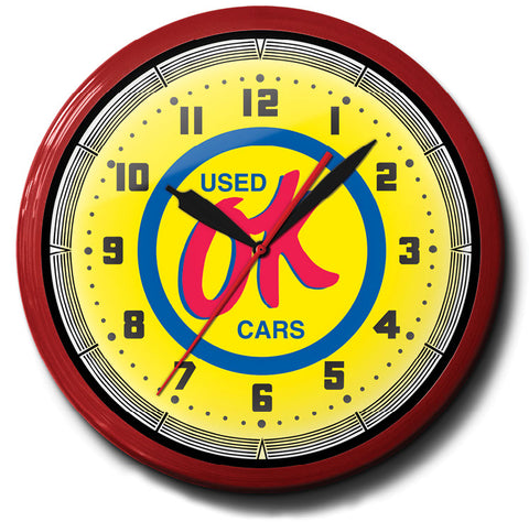 OK Used Cars Neon Clock