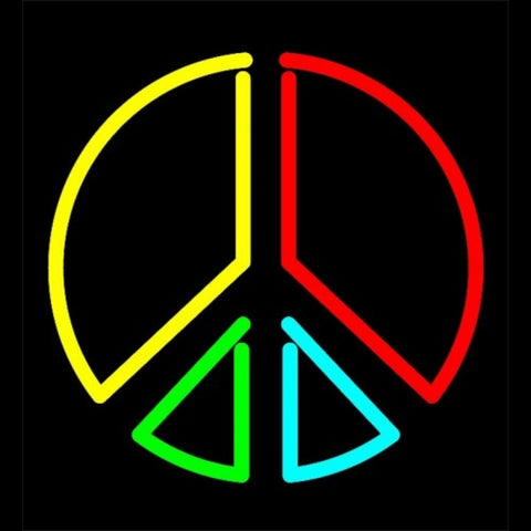 Peace Symbol Neon Light Sign Sculpture
