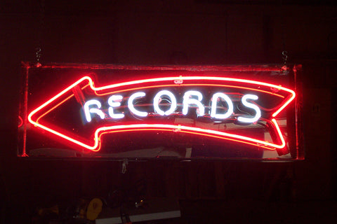 Records Neon Sign with Arrow