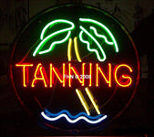 Tanning Neon Sign Round with Palm Tree