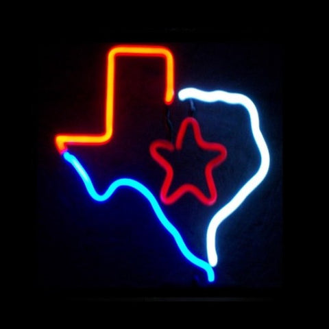Texas State Neon Light Sign Sculpture