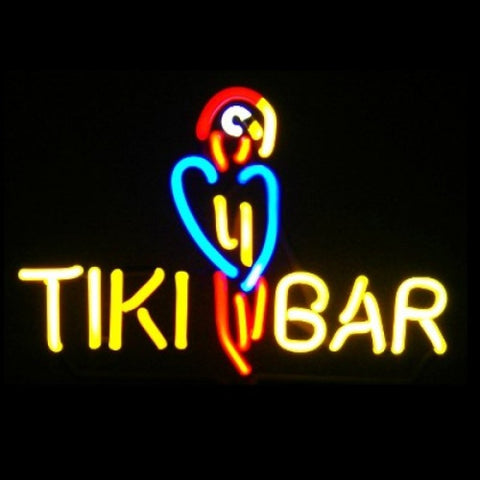 Tiki Bar with Parrot Neon Light Sign Sculpture