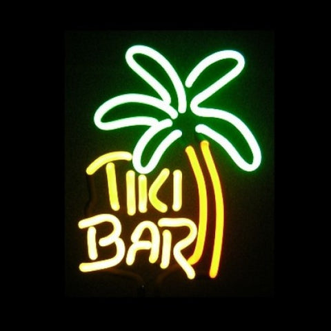 Tiki Bar with Palm Tree Neon Light Sign Sculpture
