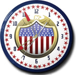 USA Eagle Shield Neon Clock