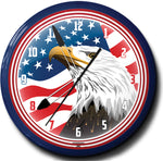 USA Flag with Eagle Head Neon Clock