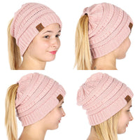 Trustoshop bonnet de que de cheval messy bun beanie 100% crochet