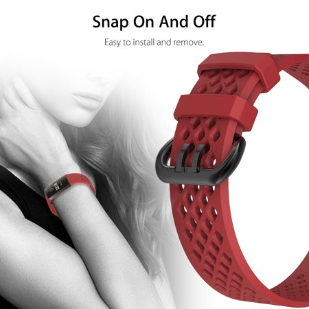 Crimson Red Breathable Fitbit Charge 3 Wrist Bands Replacement Sport Strap