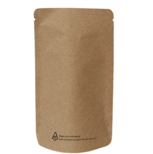 Brown Paper Biodegradable Stand Up Pouch With Barrier