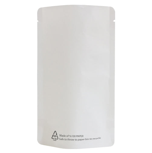 White Paper Biodegradable Stand Up Pouch With Barrier