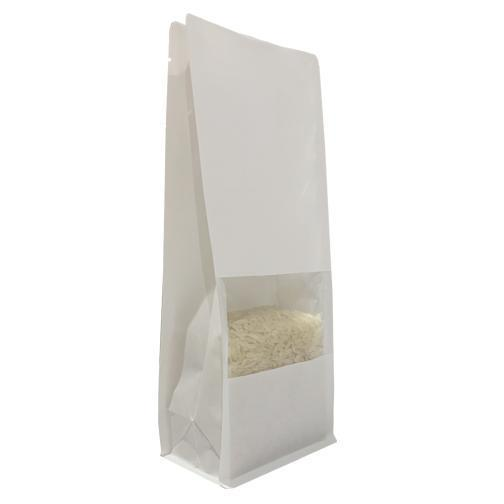White Kraft Flat Bottom Bag With Window