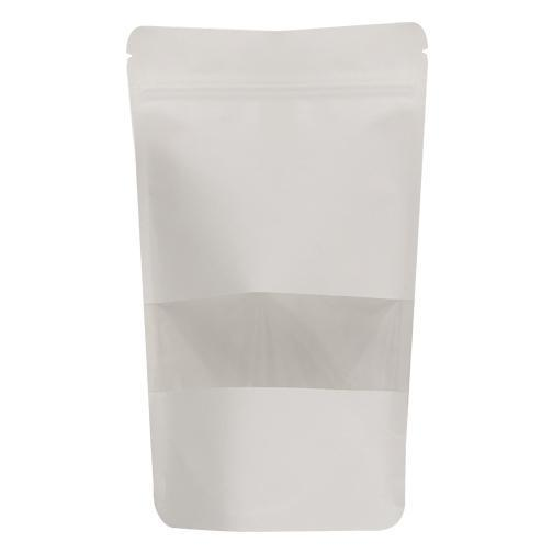 White Kraft Window Stand Up Pouch With Zipper