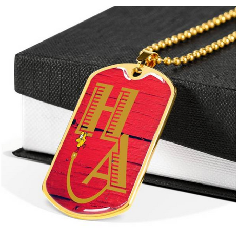 gold red barn door dog tag necklace HA