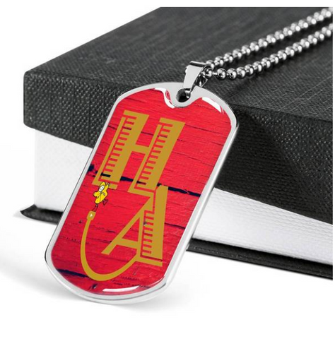 HA Happi Achievement red barn door necklace