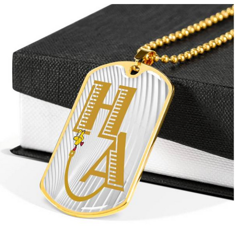 gold Happi Achievement Self Architect dog tag necklace