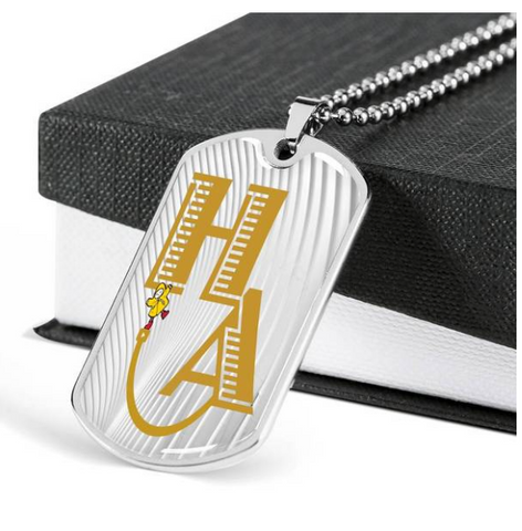 HA Happi Achievement self architect white dog tag