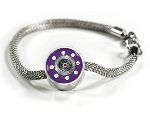 purple colored engineering happi charm bracelet