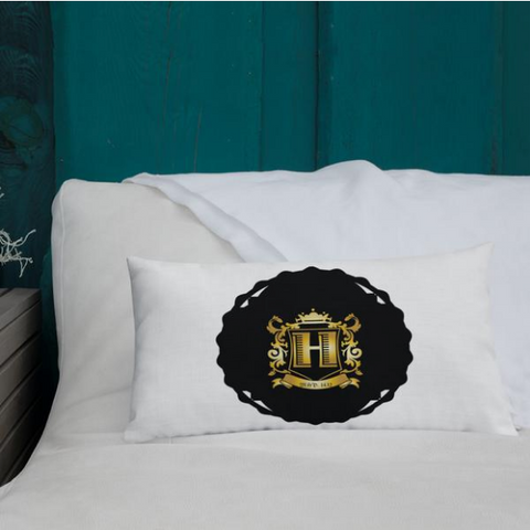 My Happi Place H Crest Pillow on white bed