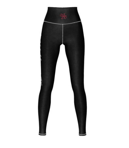 My Happi Place Black Yoga Pants front view