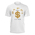 MHP Happi Positive Cash Flow Tee for Men's White/Gold/Black 100% Pima Cotton
