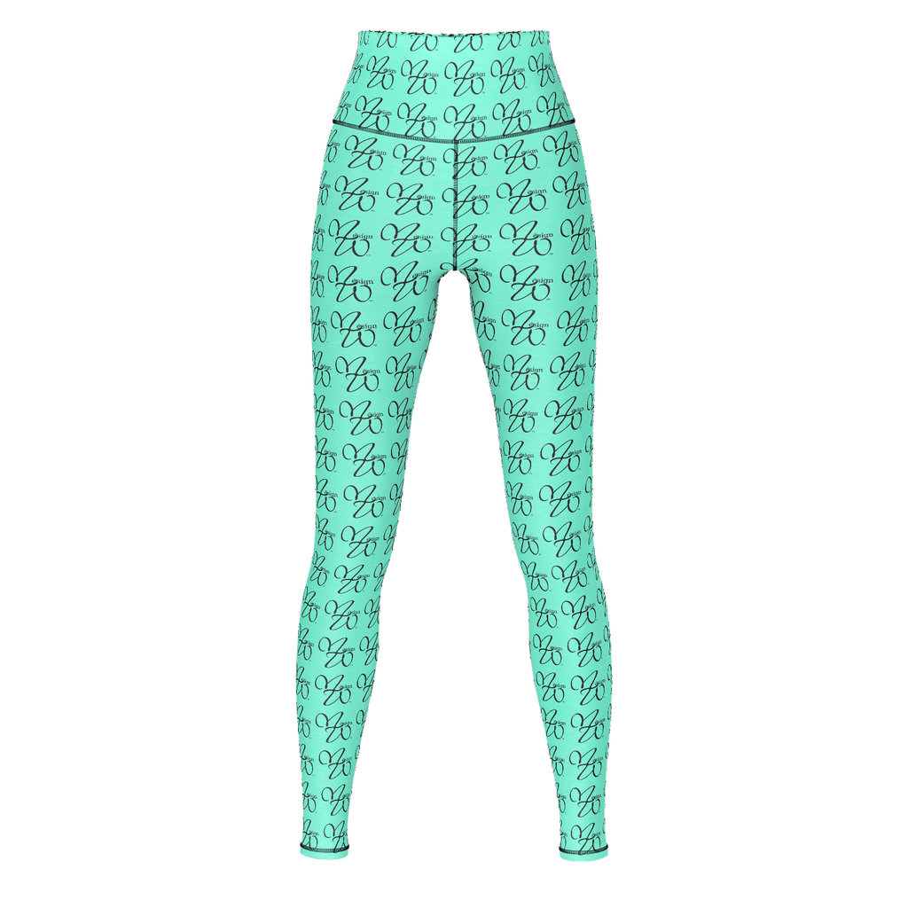 MHP Infinity Love MW Design Allover Print Yoga Pants Teal Grn