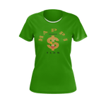 MHP Happi Positive Cash Flow LOA Tee for Women Money Green/Gold/Black 100% Pima Cotton